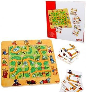 Goki Juego de Mesa Encontrar EL Camino con Tablero de mdera Niños + 4 años: Amazon.es: Juguetes y juegos