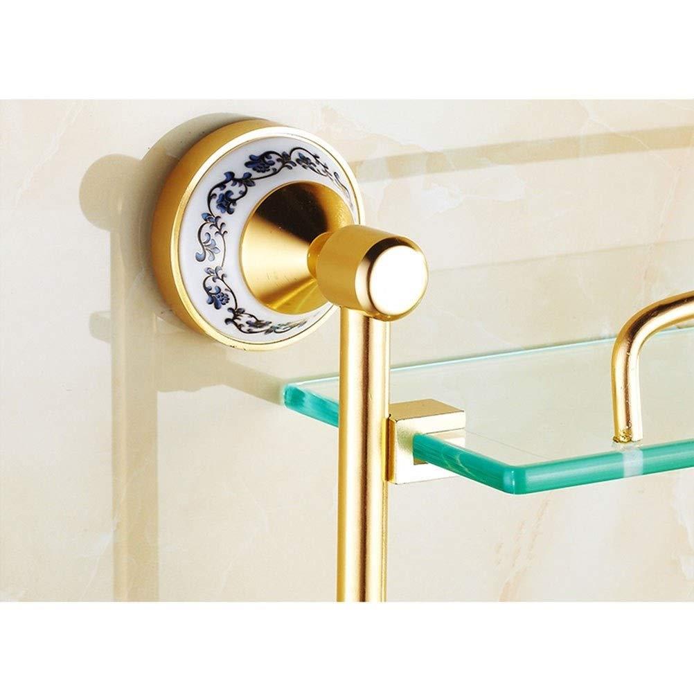 20 Pulgadas de Ancho Accesorios de ba/ño Dorados Shelf Toallero Doble de Cristal Flotante para Ducha Estante de Vidrio Templado