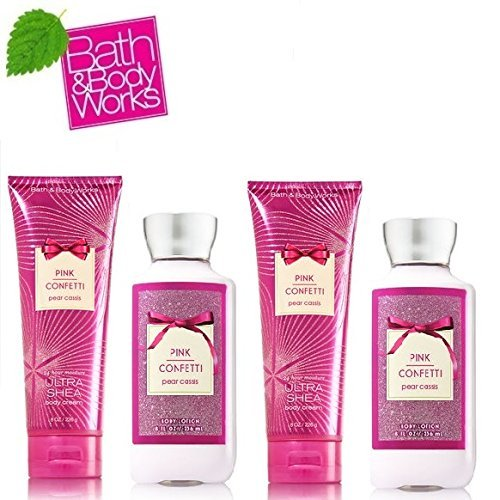 Bath & Body Works Pink Confetti Gift Set - 2 Body Lotion & 2 Body Cream Full size