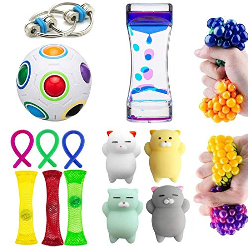 Fidget Toys 15 Pack Bundle Sensory Toys Set-Stress Relief Therapy Tools Hand Toys for Children and Adults Relief Anxiety Fidgeting Items Assortment for Special Needs ()