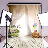 Mohoo Silk 3x5ft Bear Ballon Children Wooden Floor Photography Backdrops Photo Props Studio Background (Updated Material)