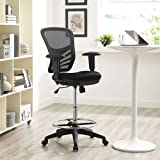 Modway Articulate Drafting Chair In Black - Reception Desk Chair - Tall Office Chair For Adjustable Standing Desks - Drafting Table Chair…