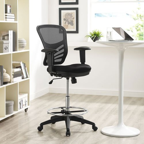 Modway Articulate Drafting Chair In Black - Reception Desk Chair - Tall Office Chair For Adjustable Standing Desks - Drafting Table Chair...