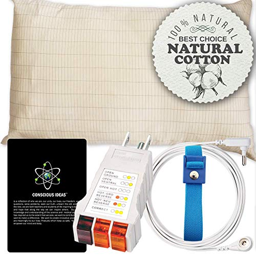 Armshield Earthing Mini Grounded Pillow Case (4pc Toddler Starters Kit) Therapy Pillows Cotton/Silver | Better Sleep | Grounding Sheet. 23 in x 14.5 in Fits Toddler Size Pillow