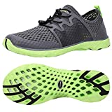 ALEADER Aqua Water Shoes for Men, Comfortable Tennis Walking Sneakers for Travel, Outdoor Black/Green 7 D(M) US
