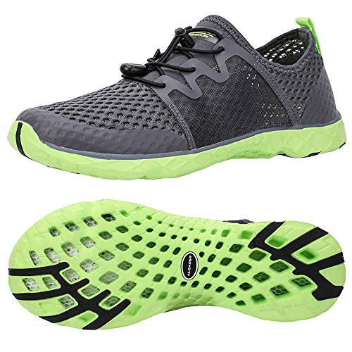ALEADER Aqua Water Shoes for Men, Comfortable Tennis Walking Sneakers for Travel, Outdoor Black/Green 10.5 D(M) US