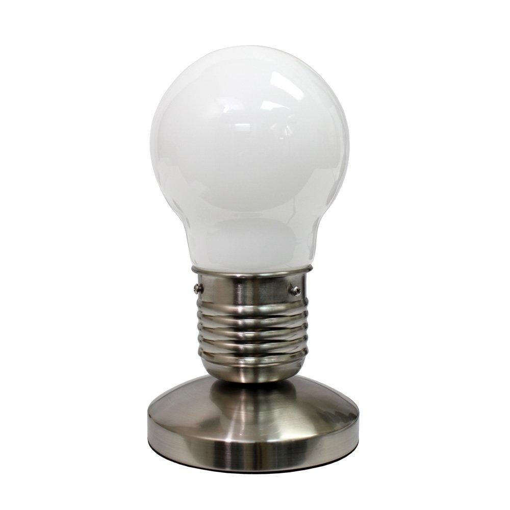 Simple Designs NL2006 WHT Sand Nickel Edison Style Minimalist Idea Bulb  Mini Touch Desk Lamp, White   Table Lamps   Amazon.com