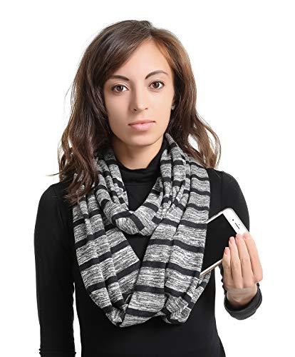 (Zipper Hidden Pocket Infinity Scarf - Black Women Men Convertible Scarf lightweight Thin Scarves Light Plain Solid Jersey Security Travel Passport Purse Fashion Infinite Scarfs For Spring Winter)