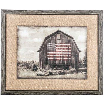 Barn Flag Framed Burlap Wall Decoration Farm Home Theater Media ()