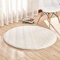 Round Area Rugs Super Soft Living Room Bedroom Home Shag Carpet,White,2.6 Feet