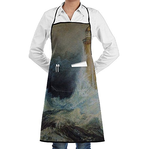 LCZ Cool Stormy Waters Lighthouse Fashion Waterproof Durable Apron With Pockets For Women Men Chef -
