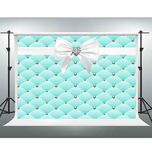 Tiffany Themed Baby Shower (GESEN Tiffany Blue Background 10x7ft Bow-Knot Photo Backdrop for Birthday Party Baby Shower Decoration Props Photo Video Props)
