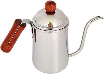 Cafetera con mango de madera. Apresuramiento manual. Tetera de ...
