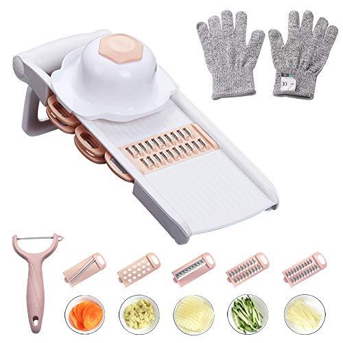 Chip Hand Cut - WORTHBUY Mandoline Slicer with Cut-Resistant Gloves, Hand Protector and Peeler - Multi Blade Adjustable Mandolin Vegetable Slicer and Potato Chips Cutter, Food Slicer, Vegetable Julienne(Pink)