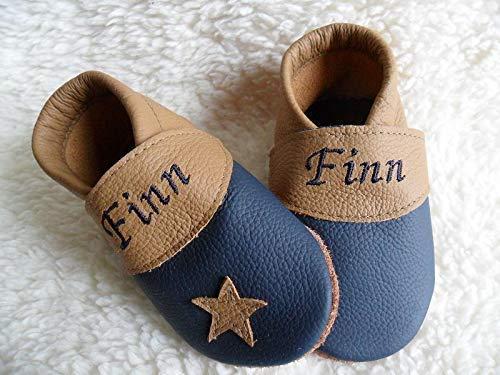 Annes-Lederpuschen Krabbelschuhe mit Namen Taufschuhe Babyschuhe personalisiert Lederpuschen Jungen Geburtsgeschenk