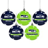 FOCO NFL Unisex 2016 5 Pack Shatterproof Ball Ornament Set