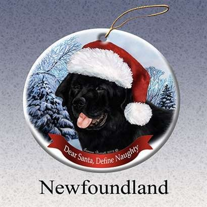 Holiday Pet Gifts Newfoundland Santa Hat Dog Porcelain Christmas Tree Ornament