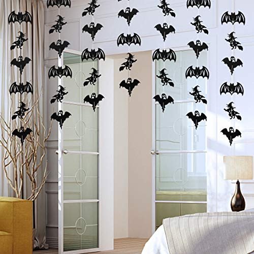 6 Pack Halloween Bats Witches Garland Hanging Decorations- Perfect for House or Yard Haunted Halloween Decorations Supplies - 3.2 Ft -