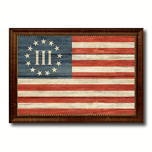 3 Percent Betsy Ross Nyberg Battle III Revolutionary War Military Flag Texture Canvas Print Brown Picture Frame Home Decor Wall Art Decoration Gift Ideas Signs (Betsy Ross Flag Picture)