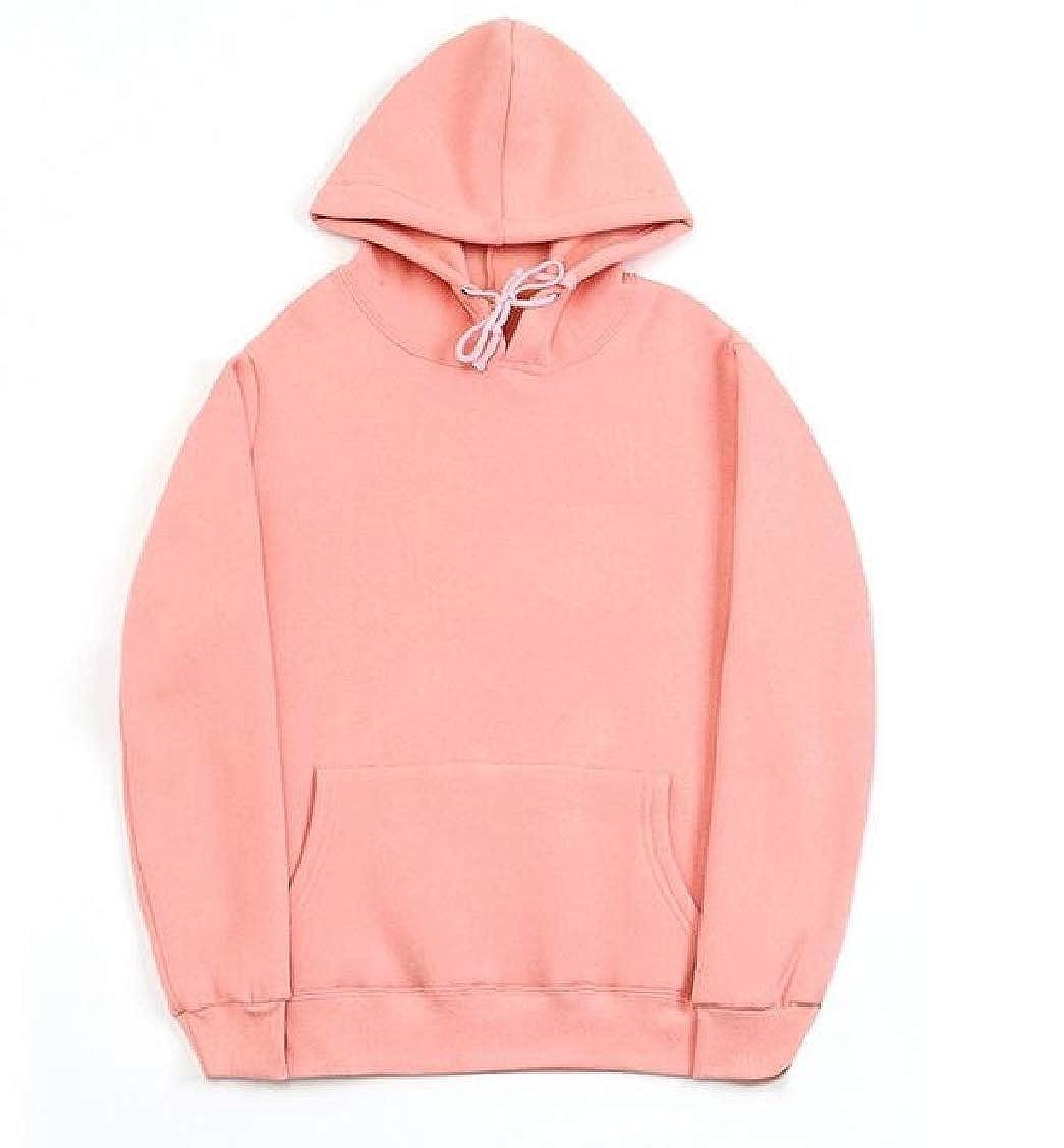 SELX Men Pocket Solid Color Slim Fashion Pullover Hooded Sweatshirt