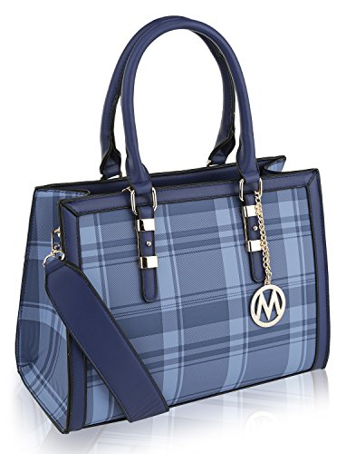 (MKF Collection by Mia K. Farrow Miley Plaid Satchel (Blue))