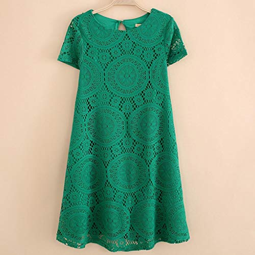 Kiminana Fashion Sexy Plus Size Solid Color Short-Sleeved Round-Neck lace Openwork Dress Green by Kiminana (Image #3)