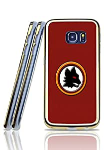 Riolve - Unique Printed Galaxy S6 Edge Funda Case As Roma - Vintage Pattern Drop Protection Arc Edge Imitation Gold Border Back Film Protector Skin For Samsung Galaxy S6 Edge(Silicone Tpu Gel 2 In 1) (Not For S6 / S6 Edge Plus)
