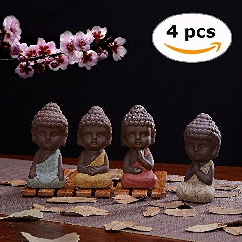 UOON Cute Small Buddha Statue Monk Figurine Outdoor Home Decor - 4pcs