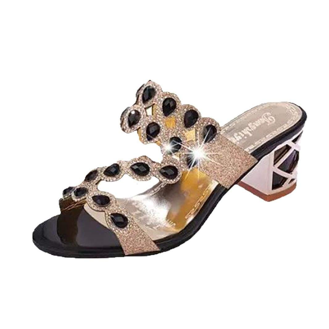 83642cb0ee85c Women Bohemia Bling Sandals Rhinestone Rubber Sole Clearance Flip Flop  Bridesmaid Party Slipper Flat T-strap Thongs High Heel Wedge Ankle Strappy  Slide Girl ...