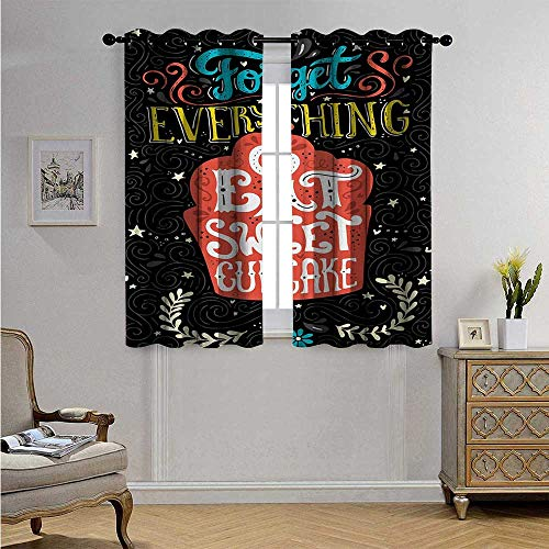 QuoteCustomizedCurtainsForget Everything and Eat Sweet Cupcake Phrase with Doodle Floral Ornaments Print Blackout Drapes W72 x L45(183cm x 115cm) Multicolor
