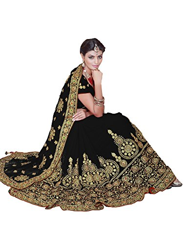 Bridal Sarees - Mirchi Fashion Women's Embroidered Bridal Wedding Saree (3442_Black)