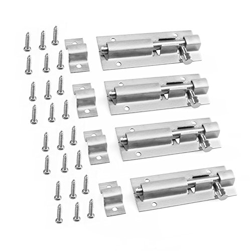URBEST Door Latch Bolt 3 inch Stainless Steel Security Door Window Latch Sliding Lock Hardware Fitting, 4 Pack - Door Security Bolt