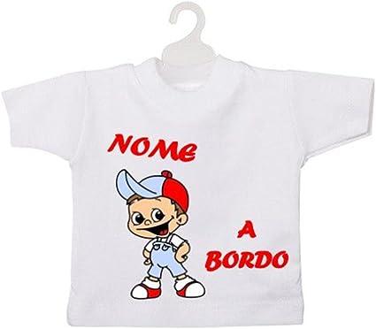 ATELIER DEL RICAMO Mini Camiseta para niño a Bordo. Azul Celeste: Amazon.es: Coche y moto