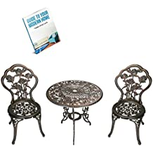Vintage Bistro Table And Chairs, Antique Bronze Colour, Set Of 3-Pieces, Vintage Style, Cast Aluminum/Iron Material, Resistant To Rust, Non-Faded, Sturdy And Durable Construction & E-Book