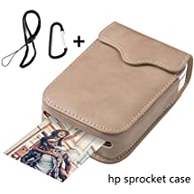 Portable Case for HP Sprocket Portable Photo Printer, PU Leather,Shockproof,a Keychain and a Rope for Carrying Your HP Sprocket Portable Photo Printer and Paper Bag,Creamy-White