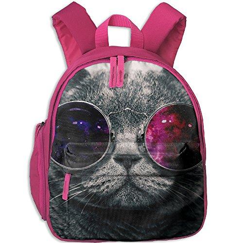 Galaxy Cat Sunglasses Preschool Student Backpack School Bag Canvas Diaper Bags (Kitty Cat Halloween Face Makeup)
