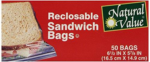 Natural Value Reclosable Sandwich Bags, 50 Bags