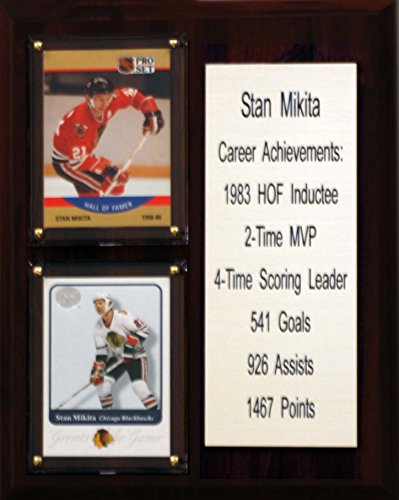 "NHL Chicago Blackhawks Stan Mikita Career Stat Plaque, 8"" x 10"", Brown"