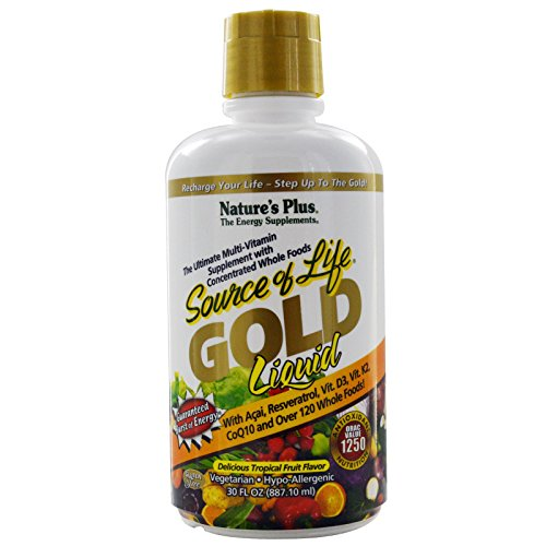 Natures Plus Source of Life GOLD Liquid - 30 fl oz - Delicious Tropical Fruit Flavor - Daily High Potency, Organic Whole Food Multivitamin Supplement - Vegetarian, Gluten Free - ()