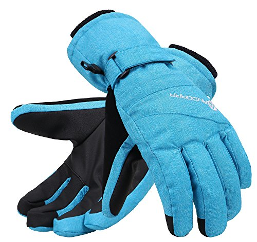Andorra Thinsulate Insulated Touchscreen Zipper Pocket Ski Gloves, Blue, S