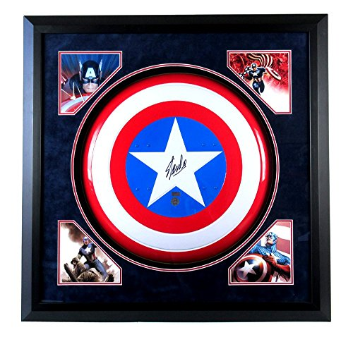 /Signed Framed Vintage Metal Captain America Shield with Deluxe Matte ()