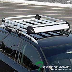 "Topline Autopart 50"" Silver Aluminum Roof Rack Basket Car Top Cargo Baggage Carrier Storage Ta1"