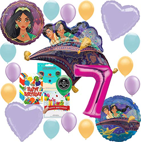 Aladdin Princess Jasmine Party Supplies Birthday Balloon Decoration Deluxe Bundle with Birthday Card and Happy Birthday Candy Treat Bags for 7th Birthday