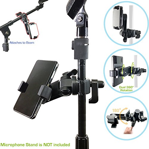 "ChargerCity Music Pro Lyric Pole Bar Microphone Boom Mic Stand mount for Apple iPhone 7 Plus 6s 6 SE Galaxy S7 S8 Edge LG v20 MOTO X Blu HTC Smartphones (Holder opens up to 3.5"")"