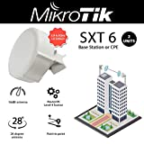 Mikrotik SXT 6 2-Units Licensed 5.9-6.4GHz Frequency Equipped with RouterOS Level 4 License and 28 Degree Dual Chain 16dBi Antenna. Can be Used as Base Station or CPE