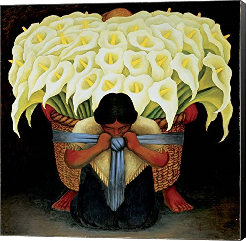 - El Vendedor de Alcatraces by Diego Rivera Canvas Art Wall Picture, Museum Wrapped with Black Sides, 14 x 14 inches