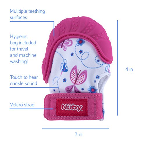 51fCxVBYq4L - Nuby  Soothing Teething Mitten with Hygienic Travel Bag, Pink