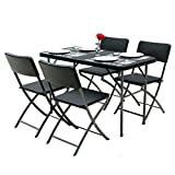 IKAYAA Rattan Dining Table and 4 Chairs Dining Table Set Garden Furniture
