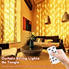 Curtain Lights LED String Lights,USB Powered Waterproof with 8 Twinkle Lighting Modes,Dimmer Switch, Clear Wire, Low Voltage Fits Bedroom Wedding Tree Patio and Christmas Decorative-Warm White