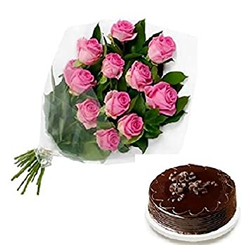 Floral Fantasy Cake And Fresh Flowers Bouquet Of 10 Pink Roses Bunch For Birthday Anniversary Friendship Day Best Wishes